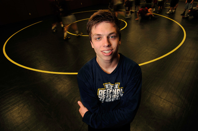 Faith Lutheran wrestler Owen Lawrie poses during a short break from training at Faith Lutheran. The senior is looking to become the first back-to-back state wrestling champ in school history. (Dav ...