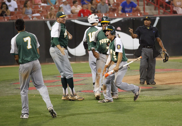Rancho players celebrate after taking the lead over the Las Vegas Titans in the American Legion state championship game. Post 8 plays begins play in the Western Regional on Thursday in Surprise, A ...
