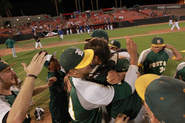 Rancho players celebrate after defeating the Las Vegas Titans 9-8 for the American Legion state championship. (Chase Stevens/Las Vegas Review-Journal)