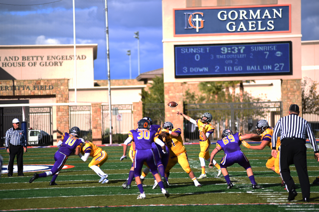 Sunrise Region quarterback Trevor Swenson (13) throws a pass in Saturday's Lions Club All-Star Football game at Bishop Gorman. Swenson completed 8 of 14 passes for 84 yards in the Sunrise's 41-0 w ...
