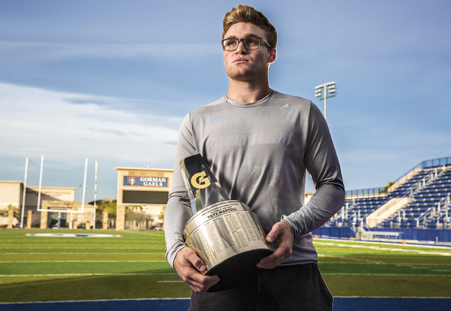 Gaels senior quarterback Tate Martell learned he was named Gatorade National Player of the Year on Wednesday morning at his home in Las Vegas. Photo taken at Bishop Gorman High School on Wednesday ...