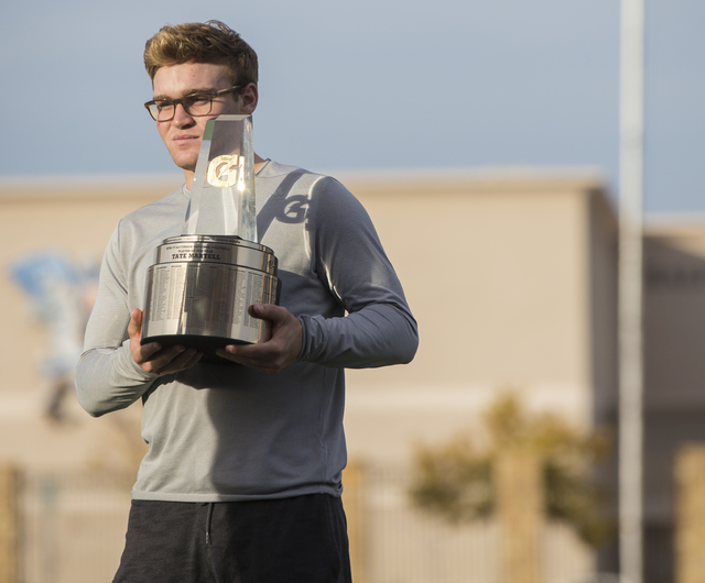 Gaels senior quarterback Tate Martell discusses being recently named Gatorade National Player of the Year on Wednesday, Dec. 14, 2016, at Bishop Gorman High School, in Las Vegas. Benjamin Hager/La ...