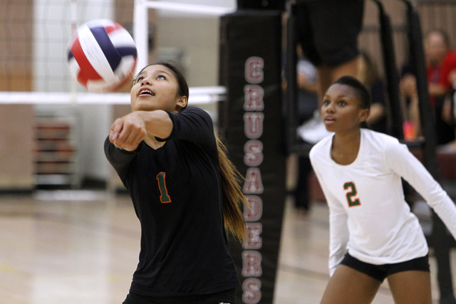 Mojave girls volleyball player Sierra Cummings passes a ball during their match against Faith Lutheran. (Sam Morris/Las Vegas Review-Journal)