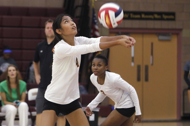 Mojave girls volleyball player Carissa Limtiaco passes a ball during their match against Faith Lutheran. (Sam Morris/Las Vegas Review-Journal)