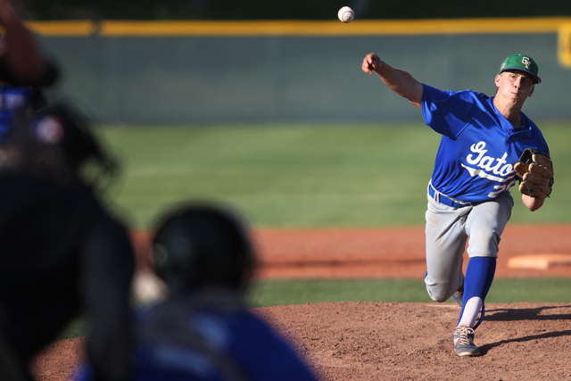 Green Valley's Spencer Cofer (26) pitches the ball in the fourth inning of their baseball game against Basic at Las Vegas High School in Las Vegas Thursday, May 7, 2015. Green Valley won 12-1 by t ...