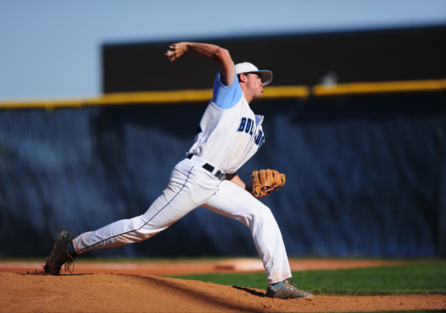 Centennial starting pitcher Kyle Horton delivers Shadow Ridge in the fifth inning of their prep baseball game at Centennial High School in Las Vegas Wednesday, May 11, 2016. Centennial won 5-4. Jo ...