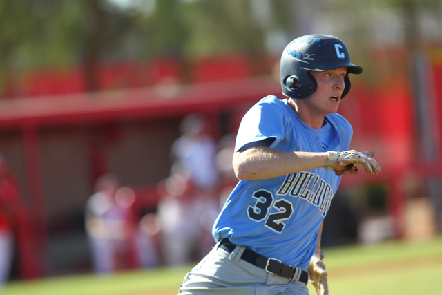 Centennial's Will Loucks runs for first base against Arbor View during the Sunset Region baseball tournament on Wednesday. Loucks went the distance on the mound, striking out 11, as Centennial won ...