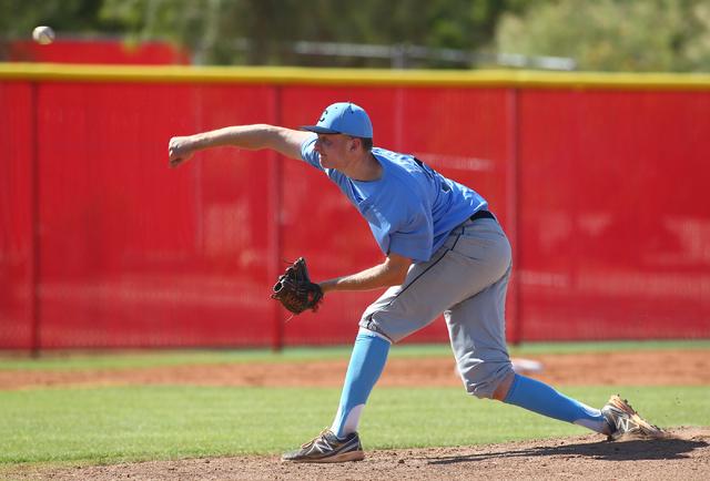 Centennial's Will Loucks pitches against Arbor View in the Sunset Region baseball tournament on Wednesday. Loucks struck out 11 as Centennial won, 4-2. (Chase Stevens/Las Vegas Review-Journal)