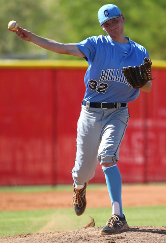 Centennial pitcher Will Loucks throws to first while against Arbor View in the Sunset Region baseball tournament on Wednesday. Loucks pitched a complete game and Centennial won, 4-2. (Chase Steven ...