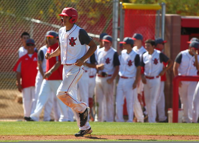 Arbor View's Kaid Urban heads for home plate after his home run against Centennial in the Sunset Region baseball tournament on Wednesday. Centennial won, 4-2. (Chase Stevens/Las Vegas Review-Journal)