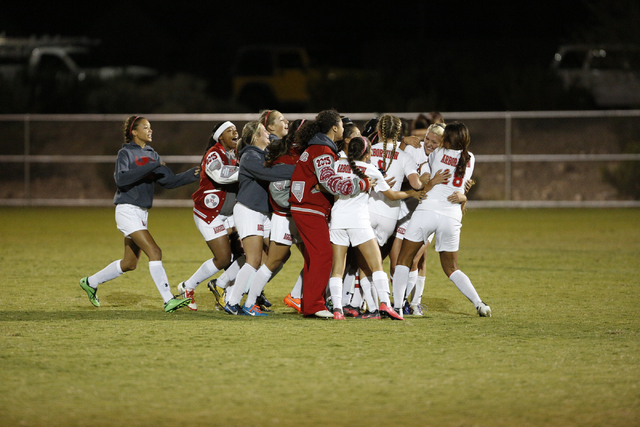 Arbor View celebrates its 2-1 win over Shadow Ridge in the Sunset Region semifinals on Thursday. (Donavon Lockett/Las Vegas Review-Journal)