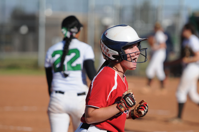 Coronado's Lauren Buck (3) celebrates her team's tying run in the seventh inning on Wednesday. Rancho scored in the bottom of the seventh to win, 3-2. (Erik Verduzco/Las Vegas Review-Journal)