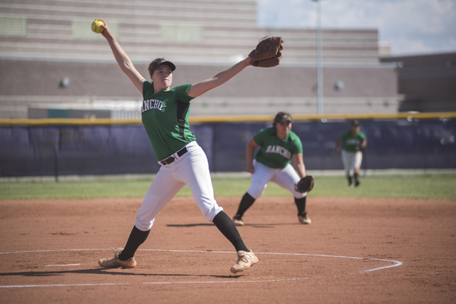 Rancho's Samantha Pochop (72) pitches against Silverado during the first round game of the Sunrise Regional tournament played at Silverado's softball field in Las Vegas on Tuesday, May 5, 2015. Ra ...