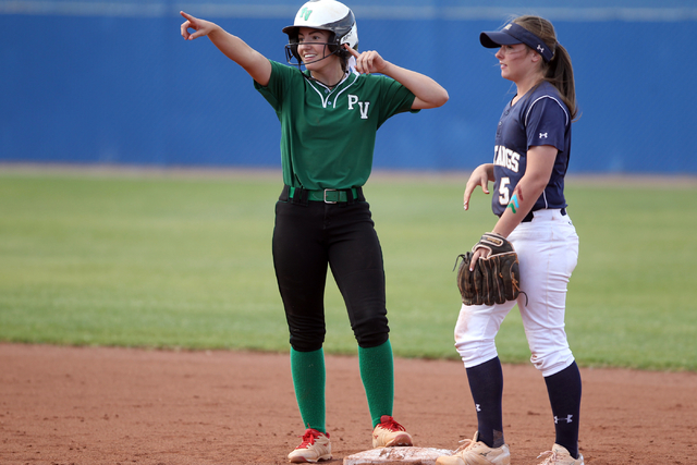 Palo Verde freshman Makall Whetten celebrates after hitting a double as Samantha Milanovich of Shadow Ridge looks on in the seven-run third inning of their Sunset Region softball tournament winner ...