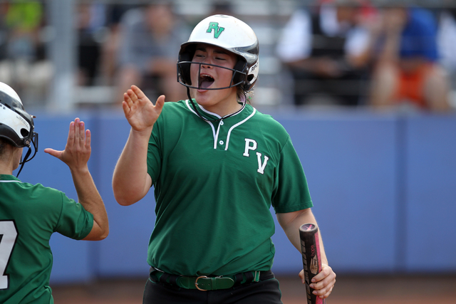 Palo Verde freshman Grace Chavez celebrates scoring against Shadow Ridge in their seven-run third inning of their Sunset Region softball tournament winners' bracket final at Bishop Gorman High Sch ...