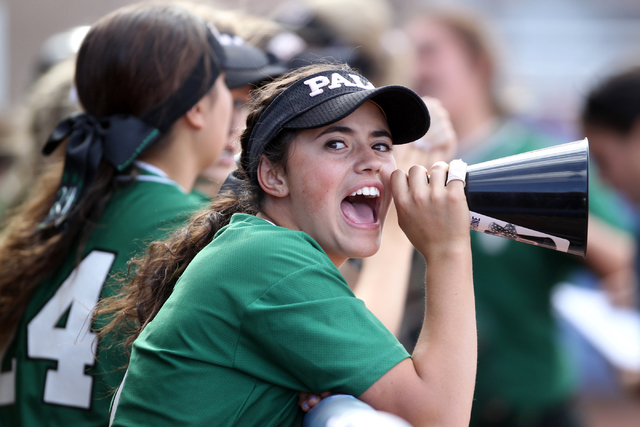 Palo Verde's Cara Beatty cheers from the dugout during her team's seven-run third inning against Shadow Ridge in their Sunset Region softball tournament winners' bracket final at Bishop Gorman Hig ...