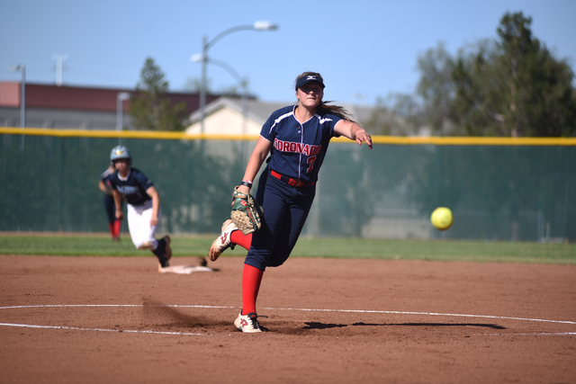 Coronado's Ashley Ward (7) pitches against Foothill during their softball game at Coronado High School in Henderson on Wednesday, May 11, 2016. Coronado defeated Foothill 8-6. Martin S. Fuentes/La ...