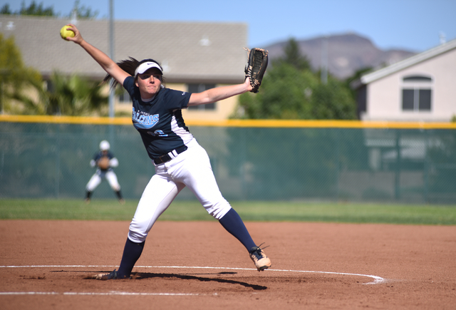 Foothill's Kayla King (32) pitches against Coronado during their softball game at Coronado High School in Henderson on Wednesday, May 11, 2016. Coronado defeated Foothill 8-6. Martin S. Fuentes/La ...