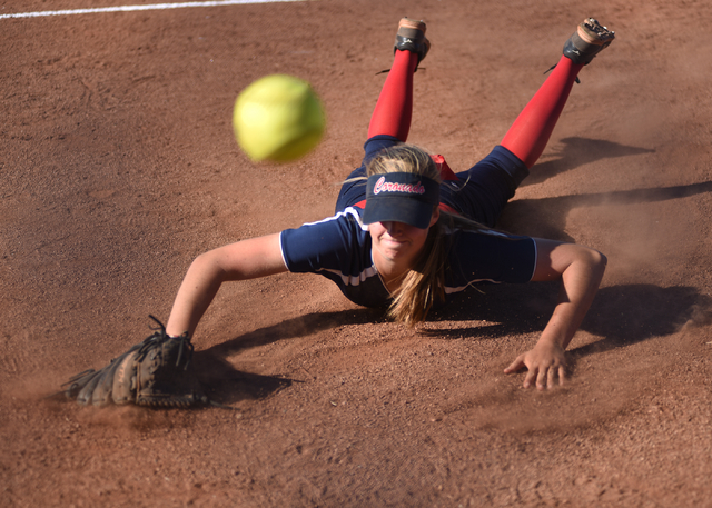 Coronado's Tatum Spangler (5) dives to catch a foul ball against Foothill during their softball game at Coronado High School in Henderson on Wednesday, May 11, 2016. Coronado defeated Foothill 8-6 ...