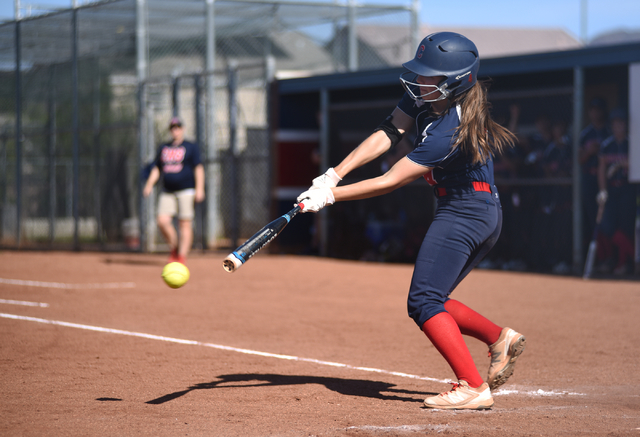 Coronado's Dylan Underwood (4) swings at a pitch against Foothill during their softball game at Coronado High School in Henderson on Wednesday, May 11, 2016. Coronado defeated Foothill 8-6. Martin ...