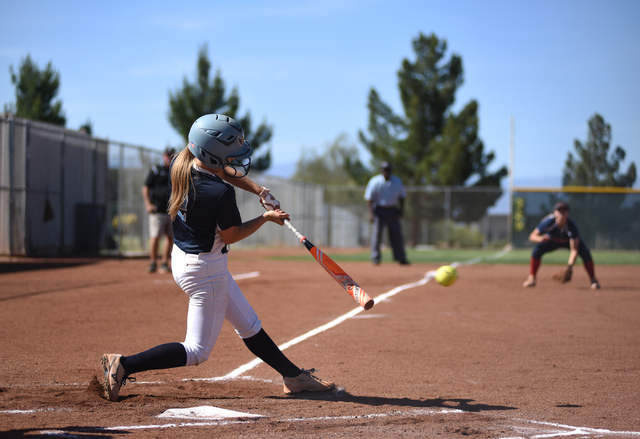 Foothill's Kylie Becker (2) swings at a pitch against Coronado during their softball game at Coronado High School in Henderson on Wednesday, May 11, 2016. Coronado defeated Foothill 8-6. Martin S. ...