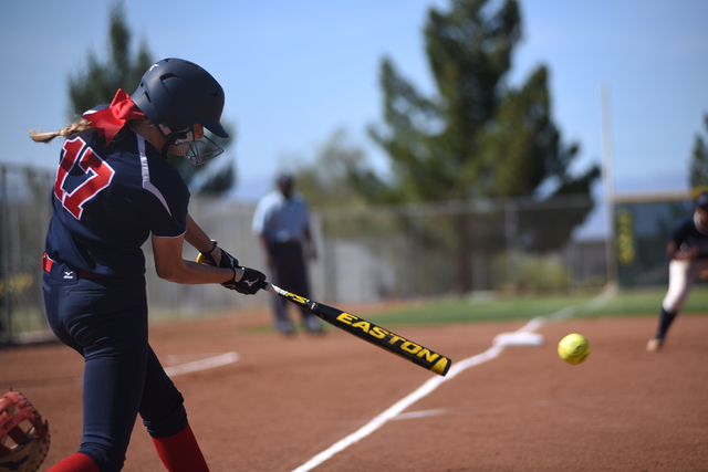 Coronado's Sarah Pinkston (17) swings at a pitch against Foothill during their softball game at Coronado High School in Henderson on Wednesday, May 11, 2016. Coronado defeated Foothill 8-6. Martin ...