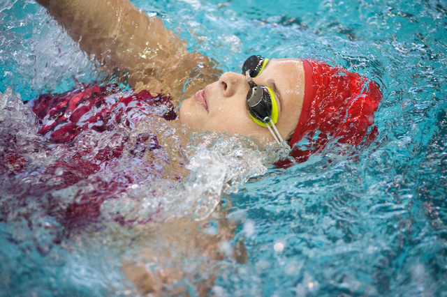 Arbor View's Ashley Collins swims the 200-yard individual medley race at the Sunset Region meet on Saturday. Collins finished 16th. (Martin S. Fuentes/Las Vegas Review-Journal)