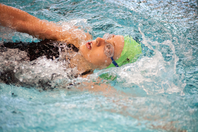 Palo Verde's Kasdyn Rafie swims the 200-yard individual medley on Saturday at the Sunset Region meet. Rafie was sixth. (Martin S. Fuentes/Las Vegas Review-Journal)