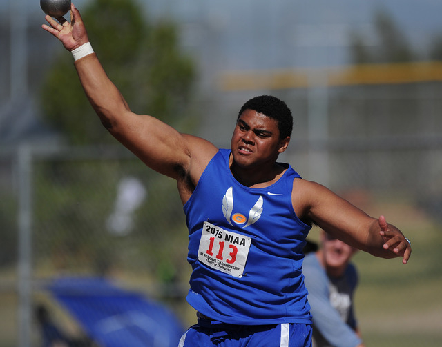 Haskell Garrett of Bishop Gorman competes in the boy's Sunset Region shot put competition during the Division I Sunset Region track and field meet at Del Sol High School in Las Vegas Saturday May  ...