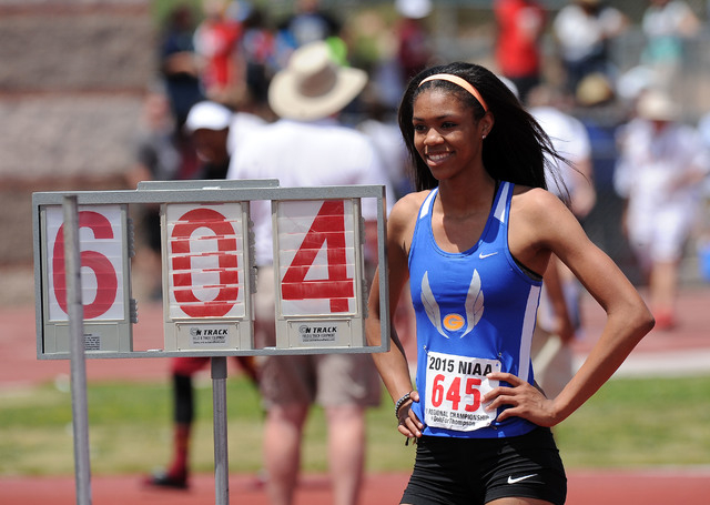 Vashti Cunningham of Bishop Gorman is seen after clearing 6 feet, 4 inches to win the Sunset Region high jup at Del Sol High School in Las Vegas Saturday May 03, 2015. (Josh Holmberg/Las Vegas Rev ...