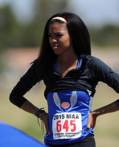 Vashti Cunningham of Bishop Gorman is seen before the start of the Sunset Region girls high jump competition at Del Sol High School in Las Vegas Saturday May 03, 2015. Cunningham won the long jump ...