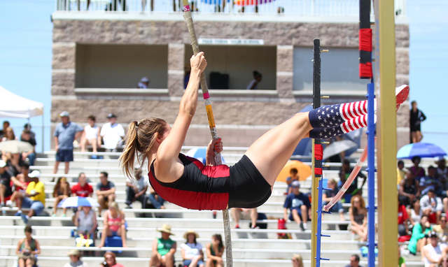 Desert Oasis' Cassidy Motis vaults over the bar during the Sunset Region girls pole vault Saturday at Palo Verde. Motis cleared 10 feet to win the event. (Chase Stevens/Las Vegas Review-Journal)