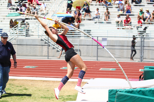 Desert Oasis' Cassidy Motis competes in the Sunset Region girls pole vault on Saturday. Motis won the event with a mark of 10 feet. (Chase Stevens/Las Vegas Review-Journal)