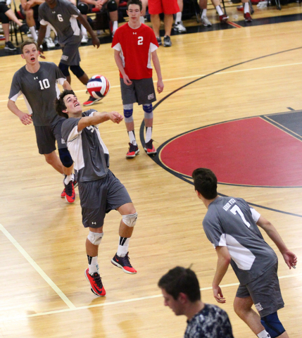 Arbor View's Chris Heron (5) receives the ball from Legacy as Sam Buckels (10), Peter Peck (2) and Nick Kastenholz (7) look on during a Sunset Region boys volleyball semifinal match on Thursday. H ...