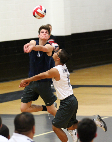 Legacy's Tanner Compton (1) and Anthony Cabrera (2) look to receive the ball from Arbor View during a Sunset Region boys volleyball semifinal match on Thursday. Compton had 17 kills and 12 digs, a ...