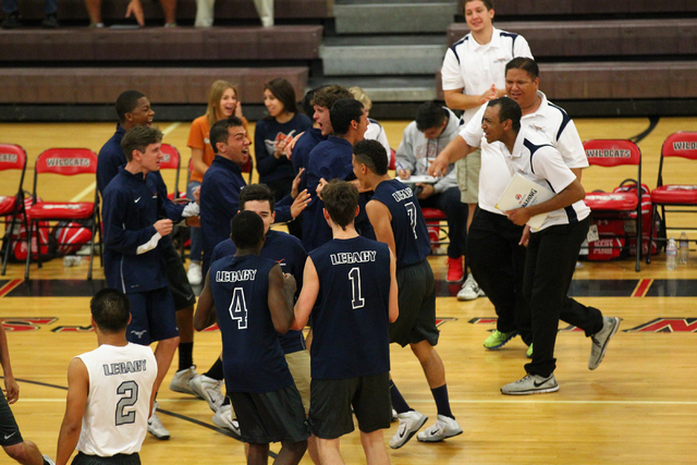 Legacy players react after defeating Arbor View 3-1 in a Sunset Region boys volleyball semifinal match on Thursday. The win clinches a berth in the Division I state tournament. (Chase Stevens/Las  ...