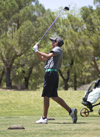 Cameron Barzekoff of Palo Verde High School watches his ball during the Sunset Region boys golf tournament at the Primm Valley Golf Course on Wednesday, May 11, 2016. Daniel Clark/Las Vegas Review ...