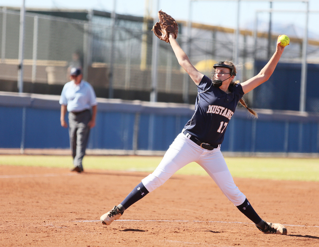 Shadow Ridge's Tana Feiner pitches during a first round of the Sunset Region tournament game against Bishop Gorman on Tuesday. Bishop Gorman won 7-6. (Ronda Churchill/Las Vegas Review-Journal)