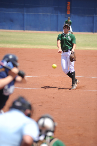 Palo Verde's Rachel Williams delivers a pitch against Centennial Saturday in the Sunset Region championship game at Bishop Gorman. Palo Verde won the game 4-1. (Martin S. Fuentes/Las Vegas Review- ...