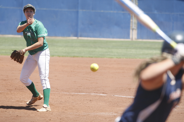 Sam Pochop of Rancho pitches to Liberty on May 14, 2016, at Bishop Gorman High School in Las Vegas. Rancho won the game 8-0, making them the 2016 NIAA Division I Sunrise Region Softball champion.  ...