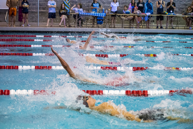 Swimmers compete during the Sunrise Region high school swim meet at the Bucky Buchanan Natatorium on the campus of UNLV in Las Vegas on Saturday, May 14, 2016. Joshua Dahl/Las Vegas Review-Journal