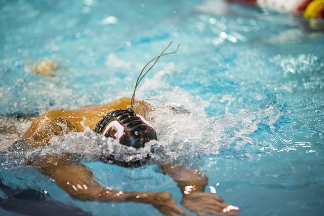 Jalen Tsuchiyama-Sando of Coronado swims during the Sunrise Region swim meet at the Bucky Buchanan Natatorium on the campus of UNLV in Las Vegas on Saturday, May 14, 2016. Joshua Dahl/Las Vegas Re ...