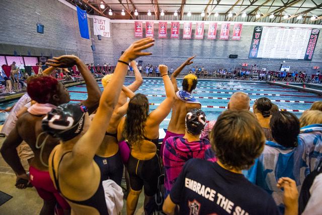 Students cheer on swimmers during the Sunrise Region high school swim meet at the Bucky Buchanan Natatorium on the campus of UNLV in Las Vegas on Saturday, May 14, 2016. Joshua Dahl/Las Vegas Revi ...