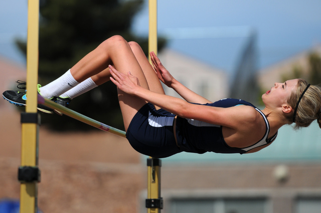 Coronado's Ali Hauck competes in the girls high jump at the Sunrise Region meet on Saturday. Hauck finished second with a mark of 5 feet, 1 inch. (Erik Verduzco/Las Vegas Review-Journal)