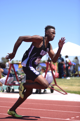 Silverado's Zakee Washington competes in the boys 400-meter dash at the Sunrise Region meet held at Del Sol High School in Las Vegas on Saturday, May 14, 2016. Martin S. Fuentes/Las Vegas Review-J ...