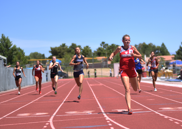 Arbor View's Madison Aldred finishes in first place after competing in the girls 400-meter dash at the Sunset Region meet held at Del Sol High School in Las Vegas on Saturday, May 14, 2016. Martin ...