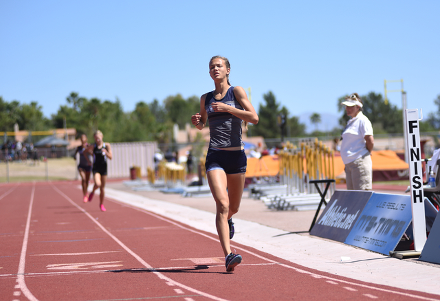 Centennial's Karina Haymore finishes in first place after competing in the girls 1600-meter run at the Sunset Region meet held at Del Sol High School in Las Vegas on Saturday, May 14, 2016. Martin ...