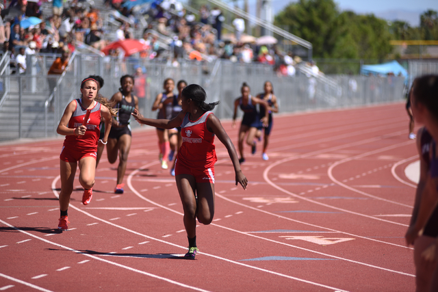 Arbor View teammates compete in the girls 800-meter relay at the Sunrise Region meet held at Del Sol High School in Las Vegas on Saturday, May 14, 2016. Martin S. Fuentes/Las Vegas Review-Journal