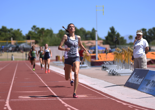 Liberty's Skylar Free wins first place after competing in the 1,600-meter run at the Sunrise Region meet held at Del Sol High School in Las Vegas on Saturday, May 14, 2016. Martin S. Fuentes/Las V ...