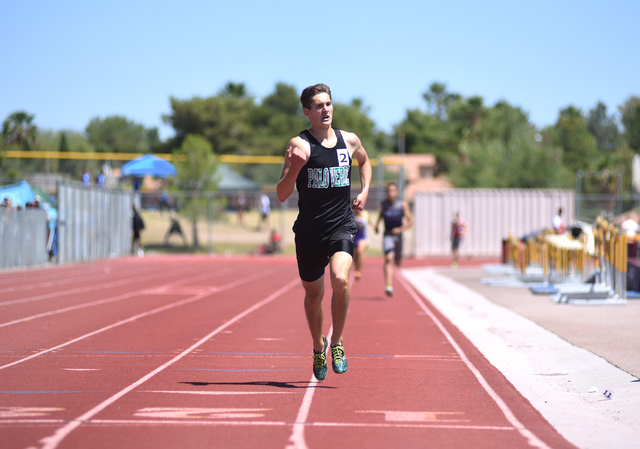 Palo Verde's Nicholas Jacobson wins the 1600-meter run at the Sunset Region meet held at Del Sol High School in Las Vegas on Saturday, May 14, 2016. Martin S. Fuentes/Las Vegas Review-Journal